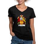 May Family Crest Women's V-Neck Dark T-Shirt