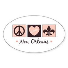 Peace Love New Orleans Oval Decal