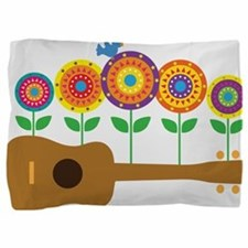 Ukulele Flowers Pillow Sham