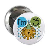 Lion 3rd Birthday Button