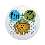 Lion 3rd Birthday Ornament (Round)