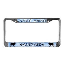 Crazy About Samoyeds License Plate Frame