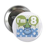 Hippo 8th Birthday Button