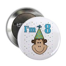 Monkey 8th Birthday Button