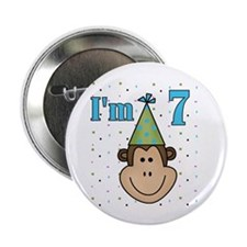 Monkey 7th Birthday Button