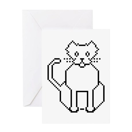 Pixel Cat Greeting Card