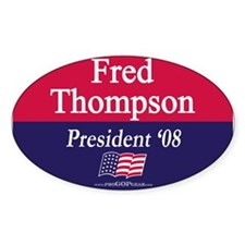 """""""Fred Thompson for President"""" Oval Decal"""
