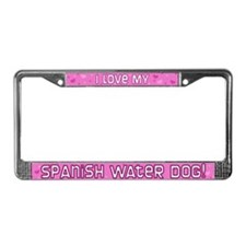 Pink Pka Dot Spanish Water Dog License Plate Frame