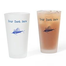 Distressed Blue Sail Fish (Custom) Drinking Glass