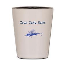 Distressed Blue Sail Fish (Custom) Shot Glass
