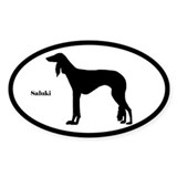 Saluki Silhouette Oval Decal