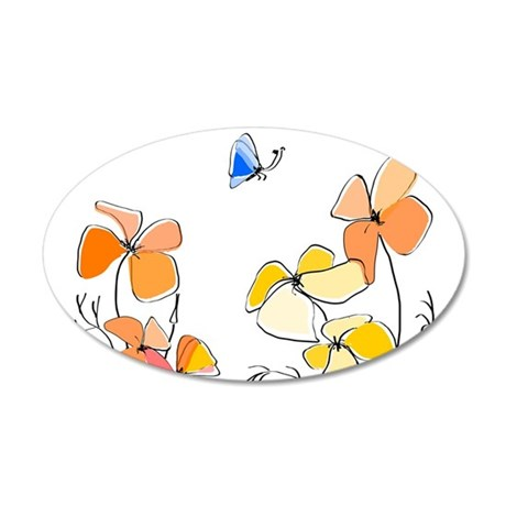 Orange Wildflowers, Blue But 35x21 Oval Wall Decal