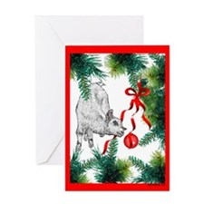 Goat Christmas Kid and Tree Greeting Card