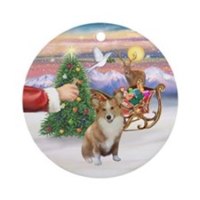 Santa's Treat - Corgi (Pem 1)Ornament (Round)
