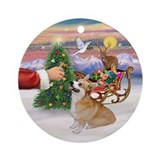 Santa's Treat - Corgi (P7B) Ornament (Round)