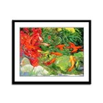 Koi Pond Framed Panel Print
