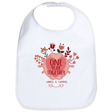 Personalized Retro Floral 1st Year Anniversary Bib