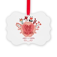 Personalized Retro Floral 1st Yea Ornament