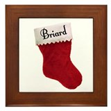 Briard Stocking Framed Tile