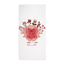 Personalized Gift for 2nd Anniversary Beach Towel
