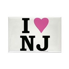 I LOVE NJ (Pink Heart) Rectangle Magnet