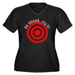 Hit Me! I Dare Ya! Women's Plus Size V-Neck Dark T