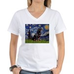 Starry/Rottweiler (#6) Women's V-Neck T-Shirt