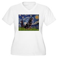 Starry/Rottweiler (#6) Women's Plus Size V-Neck T-