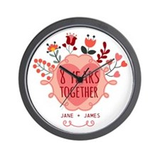 Personalized 8th Anniversary Wall Clock