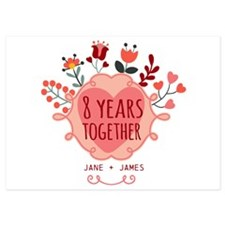 Personalized 8th Anniversary 5x7 Flat Cards