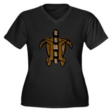 Samoa Turtle Women's Plus Size V-Neck Dark T-Shirt