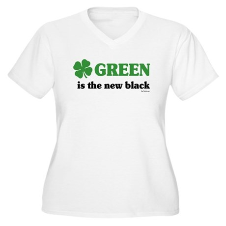 Green is the new black Women's Plus Size V-Neck T-