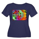 """Mosaic"" Fractal Art Women's Plus Size Scoop Neck"