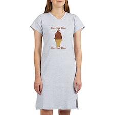 Personalized Chocolate Ice Crea Women's Nightshirt
