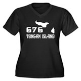 Tongan Island (676) Women's Plus Size V-Neck Dark