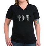 Petroglyph Peoples II Women's V-Neck Dark T-Shirt
