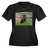 Lilies2/Rottweiler Women's Plus Size V-Neck Dark T