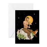 Satyr Playing Pan Pipes Greeting Cards (Pk of 20)