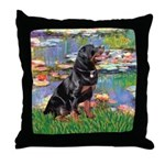 Lilies2/Rottweiler Throw Pillow