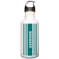 Teal and White Stripes Water Bottle