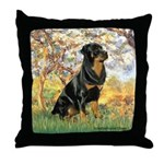 Spring / Rottweiler Throw Pillow