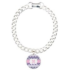 Purple Pink Chevron Monogram Bracelet