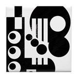 black &amp; white Tile Coaster