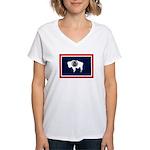 Wyoming State Flag Women's V-Neck T-Shirt