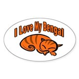 Bengal Cat Oval Decal
