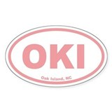 Oak Island OKI Euro Oval Sticker (Pink)