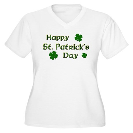 Happy St. Patrick's Day Women's Plus Size V-Neck T