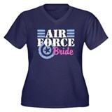 Air Force Bride Women's Plus Size V-Neck Dark T-Sh