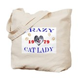 Cat lady birthday 1979 Tote Bag