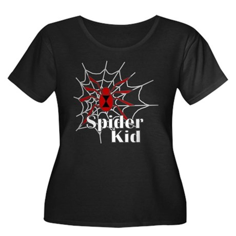Spider Kid Women's Plus Size Scoop Neck Dark T-Shi